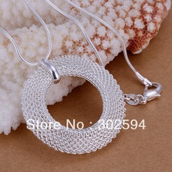 P054 Promotions Free shipping Beautiful fashion Elegant 925 silver charm round mesh girl pendant pretty Necklace jewelry(China (Mainland))