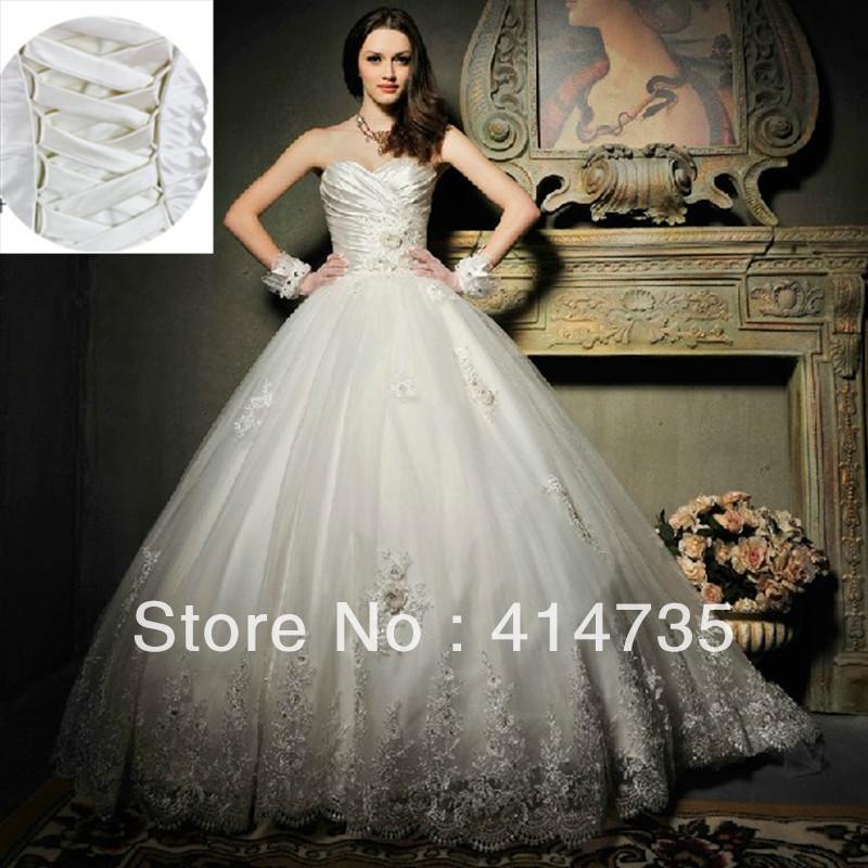 2014 Luxury bridal stores Organza Lace Wedding Gowns on sale Floor Length Elegant Princess Bridal Dress Online(China (Mainland))