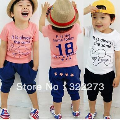 [Min order $20] hot selling baby summer clothing set(t shirt+short pants).kids summer wear with elephant children clothing(China (Mainland))