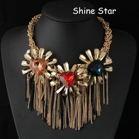 Gold Plated Chain Iridescent heart crystal Stone Flower Mix Tassel Statement collar choker bib Necklace Women Jewelry Item,AF921