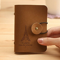 Hot sell Free Shipping Stationery wood vintage eiffel tower romantic buckle 20 place card Picard's velvet bag card case