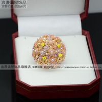 Flower Paris spring of luxury small aesthetic camellia full rhinestone ring