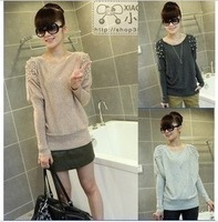 2013 spring pearl sweater basic shirt o-neck t-shirt all-match thermal women's sweater