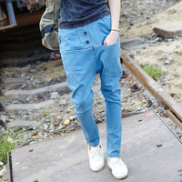 2012 large pocket denim harem pants male low-rise pants harem pants slim jeans male