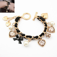 Min Order $10(Mix Items)Korean Fashion Chic Gold Peach Heart with Bow Pearl leather cord Braided Bracelet Wholesale Jewelry