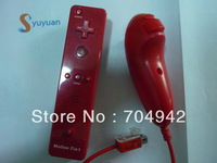 Free shipping Red Color Remote built in Motion Plus  +  Nunchuck  +  Silicon Case + Strip for Wii