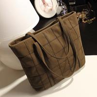 Fashion women bag 2014 thick plaid brief nubuck leather big bags female handbag tote bag