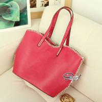 Fashion brief knitted color block big women casual-bag female bag bolsas femininas Free Shipping