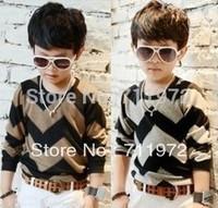 Free Shipping Boys children clothing wavy lines T-shirt kids Primer shirts 3colors 5pcs/lot Hot Sale