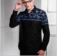 2013 brand  Mens Fashion Cotton England Designer Slim Fit Dress man long Shirts Tops Western Casual S M L XXXL AM003