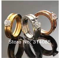 Minorder $15(mix order) free shipping 18k gold plate crystal ring titanium steel 2 in1lover ring ,women mixed ring lot