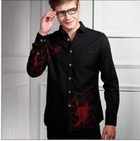 Free shipping 2013 black brand For Men Slim Fit Long Sleeve Shirts Man Desigher Cotton Dress Shirt size S-3XL