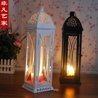 European idyllic Mediterranean white hollow wrought iron glass lantern, wedding decorations, home decorations