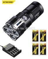 NITECORE TM26 4 pcs XM-L U2 LED Tiny Monster Flashlight + 1 Pcs Nitecore i4 charger + 4 pcs Nitecore 18650 2600 mAh batteries