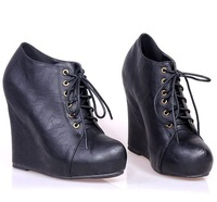2012 fashion punk british style black lacing high-heeled wedge boots martin boots
