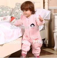 4pcs- Lugh Baby Girls' Long SLeeve Romper, Infant/toddler/Children Cotton Pink Jumpsuit, kids wear 838
