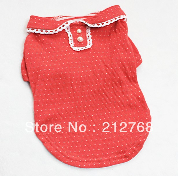 Adorable New 100% Cotton Pet Puppy Dog Clothes Clothing Dress blouse Shirt Girls Male Apparel XS S M L XL XXL(China (Mainland))