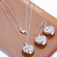 Free Shipping Silver Plated Jewelry Sets Top Quality Guaranteed Heart Necklace Earrings Set S108