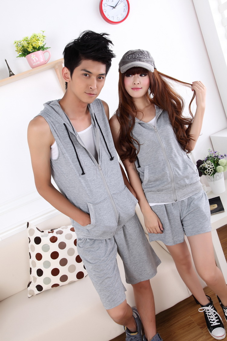 Free Shipping Hot Sale Sleeveless Cotton Unisex Men Women Lovers Casual Summer Tracksuits Shirts Sportswear Gray Blue S M L XL(China (Mainland))