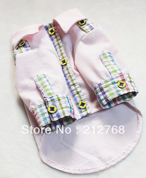 Adorable New 100% Cotton Pet Puppy Dog Clothes Clothing Dress Male Boy Shirt Apparel XS S M L XL XXL(China (Mainland))