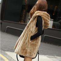 Autumn and winter faux vest female fashion with a hood long design rabbit fur vest slim quality wool vest
