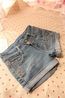 2013 spring and summer retro finishing roll-up hem denim wide leg shorts