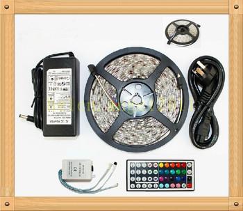 New 10M 3528 300 LED RGB Waterproof light strip + 44 Key Free IR Remote+5A power  Free shipping