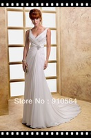 2013 Valore Chiffon wide V-neckline cross-ruched bodice Swarovski crystal motif zipper Wedding Dresses Bridal Gown