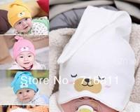 10pcs- 2013 new design bear cartoon newborn baby sleeping cap hat nightcap circumference 33-50cm, for 5-24 months,858
