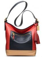 Fashion genuine leather handbag women's tassel color block first layer of cowhide women's handbag cross-body shoulder bag