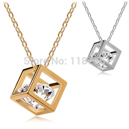 New Arrival Fashion Romantic Austria Crystal Cube Heart&Arrows drop Pendant Necklace with swarovski elements silver gold plated(China (Mainland))