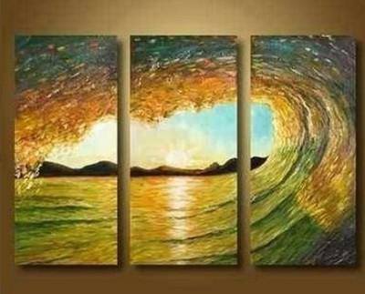 lindo ~ ! Pintura a óleo moderna da arte abstrata na lona - Ocean Waves Surf --- E2(China (Mainland))