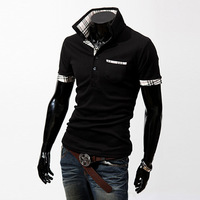 Free Shipping 2013 Hot Men's Polo T-Shirts Casual Slim Fit Stylish Short-Sleeve Shirt Color:Black,White,Winered Size:M-L-XL-XXL