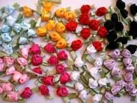 SALE 60 Mini Satin Ribbon Rose Rosebud Flower Leaf/dress/craft/6 Colors F19 LAST