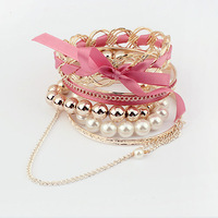 Fashion knitted 2012 sweet bow pearl multi-layer bracelet hand ring #9900-8 Min Order $10