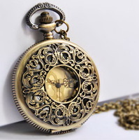 Minimum order 30$: Vintage bronze Large size old flower pocket watch L47, unique gift