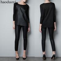 2014 Spring Irregular sweep PU patchwork sweater black 6 full free shipping