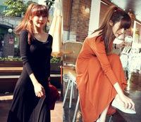 Clothing 2013 summer fashion modal full dress slim racerback expansion bottom three quarter sleeve basic one-piece dress