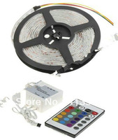 non-waterproof color changing flexible rgb led strip lights 5M SMD 5050 DC12v 300leds+9remote controller