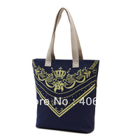 free shipping  casual canvas bag print fashion ladies'  handbag retro shoulder bag