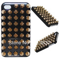 3D Luxury Bling Gold Spikes Studs Case Cover For iphone 4 4S  With Punk Style Free Shipping
