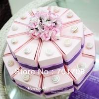 Two Layer Pink  Wedding Favor Cake Box gift box cake box WIth Ribbon