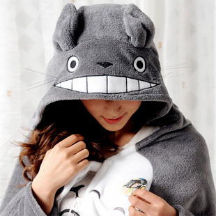 Totoro coral fleece thickening cloak plush toy cape lounged cartoon blanket air conditioning blanket dual