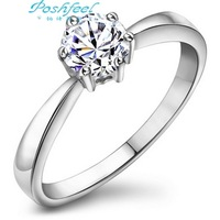 Hot sale Poshfeel brand Genuine  925 sterling silver & AAA high quality zircon crystal & platinum plated female wedding rings