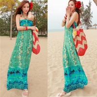 free shipping 2013 DUOYI spring tube top plus size one-piece dress bohemia dress full summer beach dress