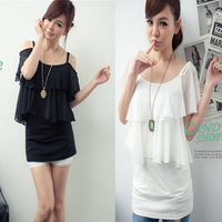 free shipping 2013 summer Women women's top women's ruffle strapless chiffon shirt o-neck short-sleeve T-shirt