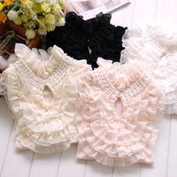 free shipping Stand collar basic shirt female long-sleeve vintage gentlewomen fashion beaded cake autumn lace