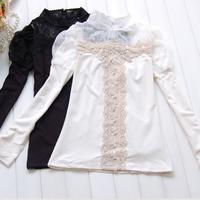 free shipping Lace stand collar spring women's long-sleeve 100% cotton slim sweet basic shirt t-shirt