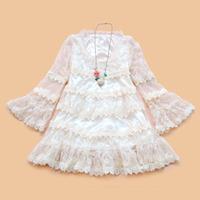 free shipping 2013 one-piece dress o-neck flare sleeve chiffon patchwork sweet lace skirt elegant princess dress
