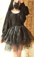 Free Shipping Vintage gothic lantern sleeve slim waist gauze patchwork chiffon ruffle hem long-sleeve dress